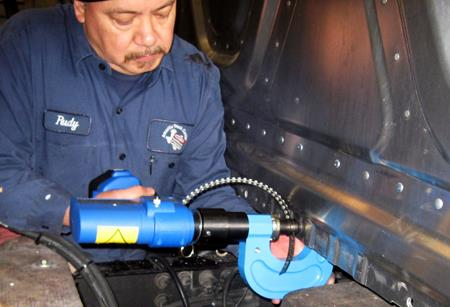 Riveting Tool for Repair of Truck Cabs & Car Bodies | RivLite Mk4